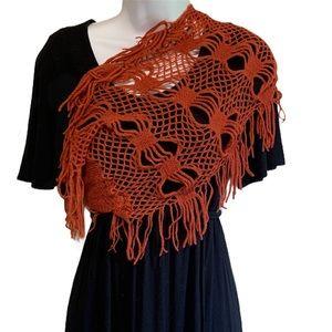 Infinity Scarf Burnt Orange Open Knit Small Wrap
